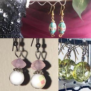 3 Sets Earrings, Blue, Green & Pink/White